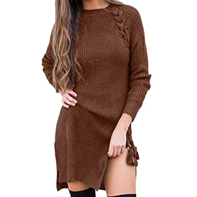 Allegrace Women's Lace Up Long Sleeve Knitted Casual Winter Warm Pullover Sweater