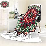 YOYI-HOME Digital Printing Duplex Printed Blanket Ethnic Mandala Retro Henna Design Eastern Drawing Round Print Accessories Beige Green Red Summer Quilt Comforter /W79 x H59