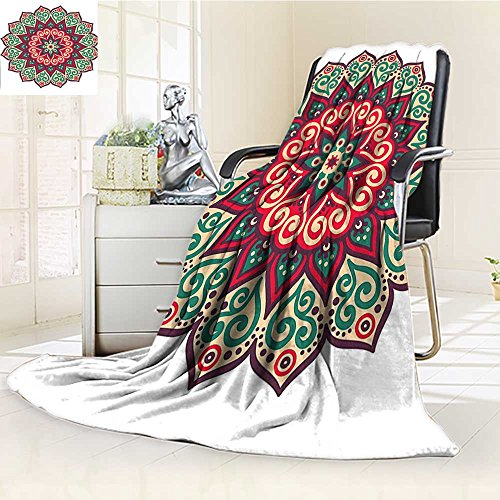 YOYI-HOME Digital Printing Duplex Printed Blanket Ethnic Mandala Retro Henna Design Eastern Drawing Round Print Accessories Beige Green Red Summer Quilt Comforter /W79 x H59 by YOYI-HOME