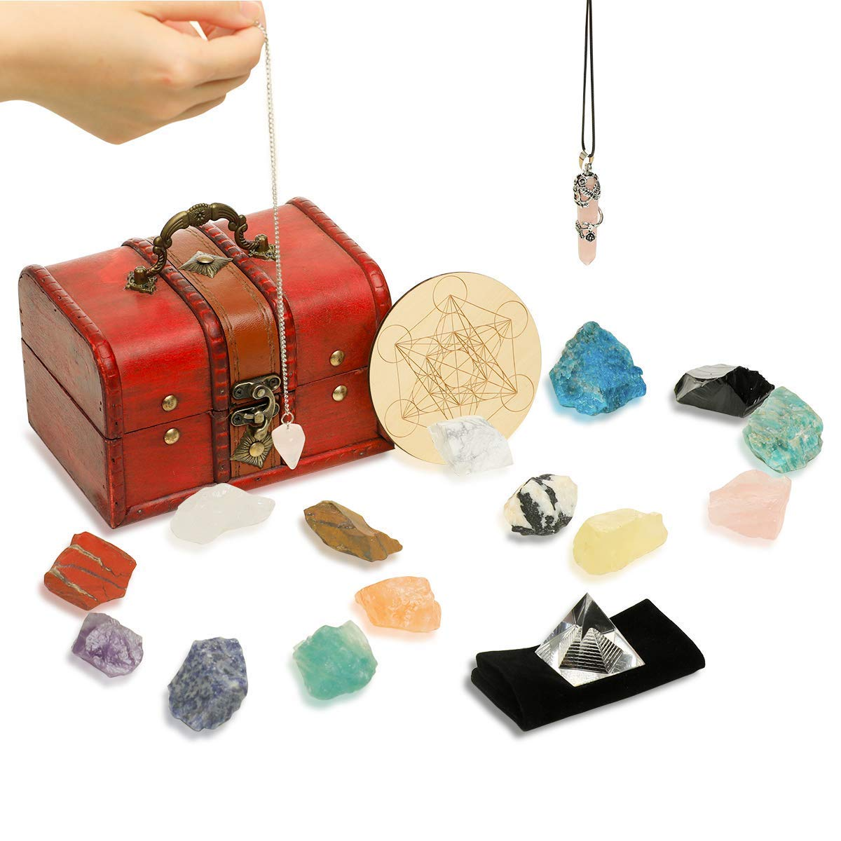 Soulnioi 18Pcs Healing Crystals kit (14 Chakra Stones, Quartz Pendulum, Crystal Necklace, Crystal Grid Kit, Energy Pyramid) + Wooden Box, for Meditation, Spiritual Gifts for Women, Girlfriend, Lady