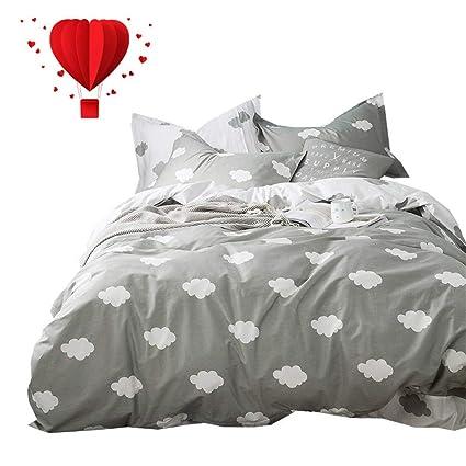 BuLuTu Cloud Print Kids Bedding Sets Twin Grey White 100% Cotton,Premium  Reversible Teen