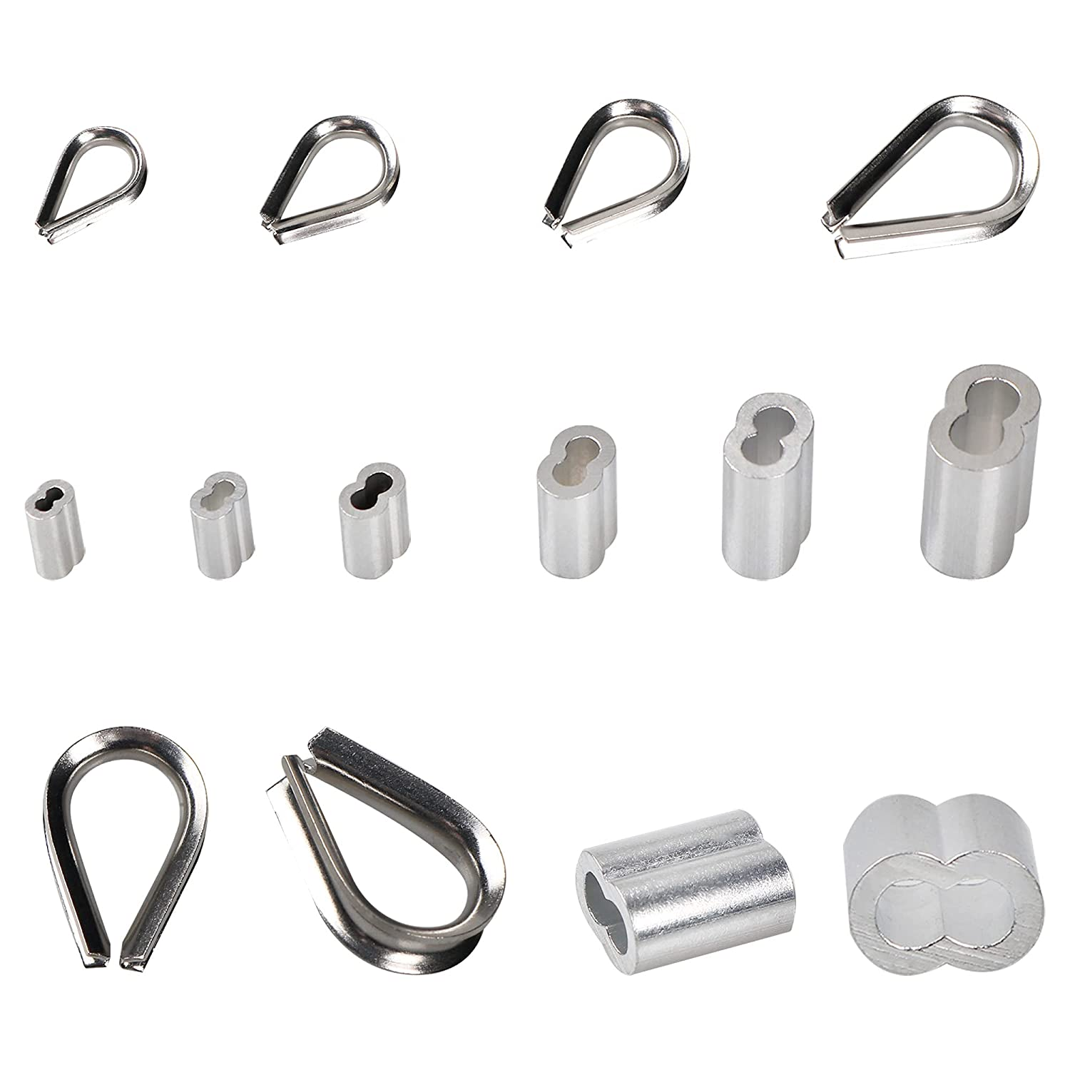 TEHAUX 1set Stainless Steel Thimble Aluminum Crimping Loop Sleeve Kit Wire Rope Cable Thimbles Rigging