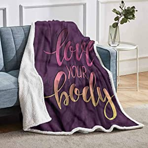 """YUAZHOQI Fitness Throw Blanket for Couch Sofa Love Your Body Positive Home Decor Perfect for Couch Sofa Beds 50"""" x 60"""""""