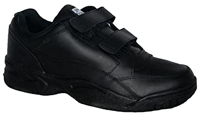 Wide Fitting Mens Trainer Leather Uppers With None Slip Sole Black 6