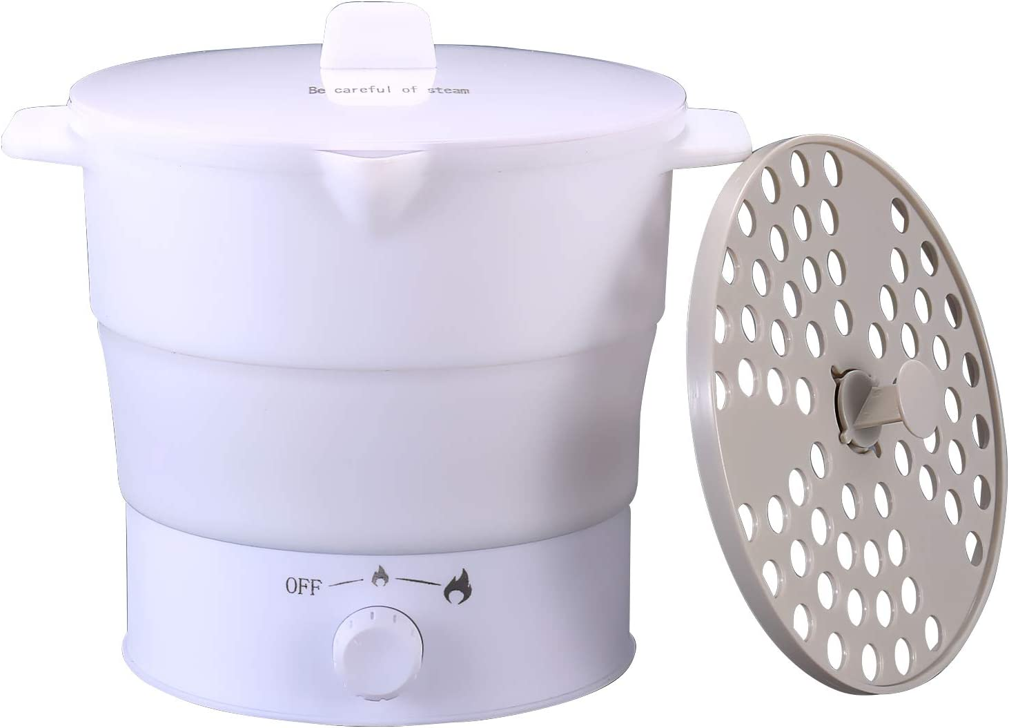 Portable Foldable Mini Electric Hot Pot Cooker, 1.2L Travel Heating Kettle, Food Grade Silicone Cookware Water Steamer, 2 Heating Speed Adjustable 110V / 800W Boiling in 7~10 Minutes, 23 Oz Weight