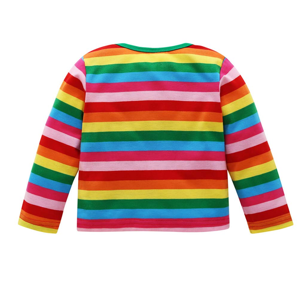 445c99d2 Amazon.com: Baby Toddler Boy Girl Tops Striped Rainbow T Shirt Fall Winter  Clothes Kids Long Sleeves Sweatshirt 1-5 Years Old: Clothing