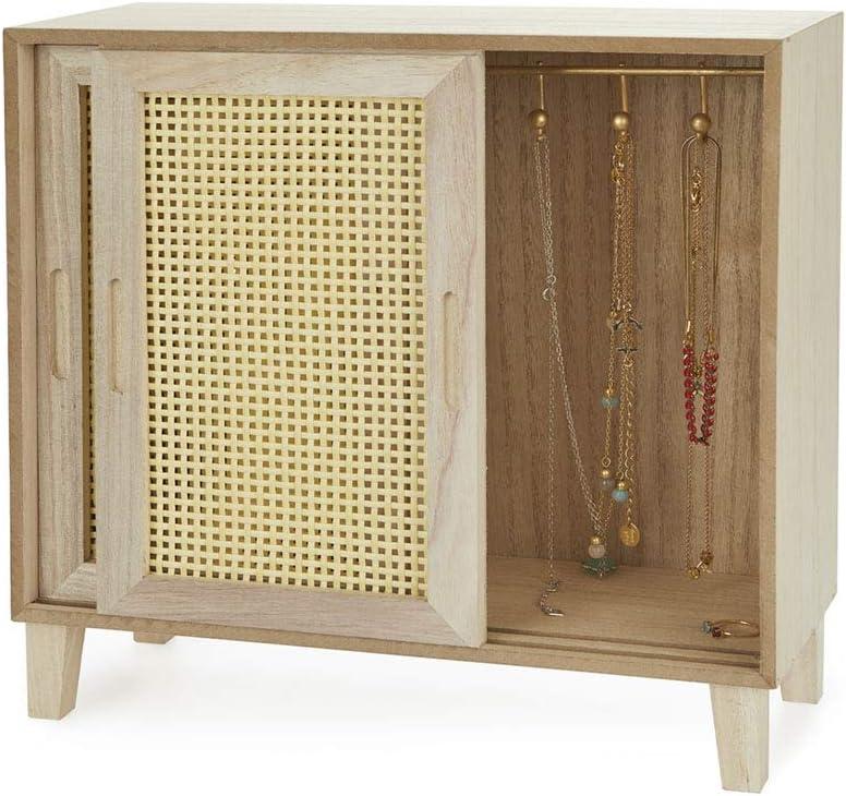 Balvi Organizador Cabinet Color Madera DM para Gafas, Joyas, bisutería, Pendientes, Pulseras
