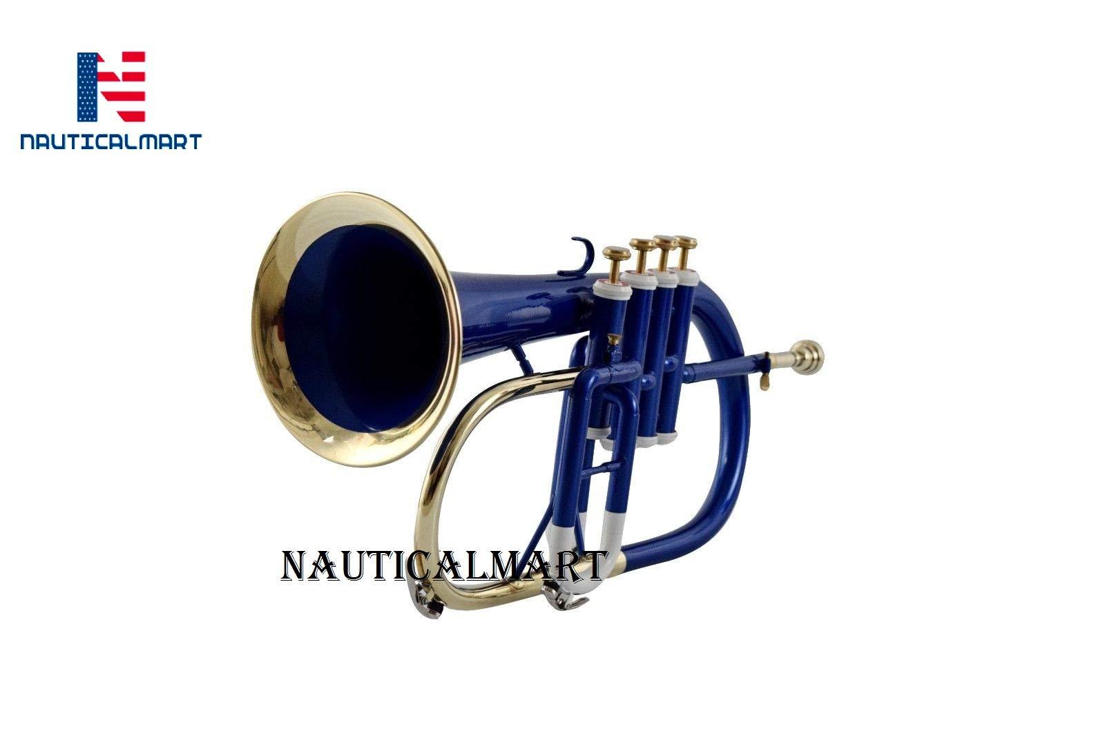 Brass Bb Flat 4 Valve Flugel Horn + Free Hard Case + Mouthipice
