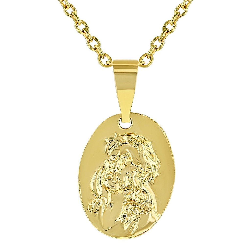 In Season Jewelry Collar con colgante de corazón de Jesucristo chapado en oro de 18 quilates y medalla pequeña para niños, 40,6 cm