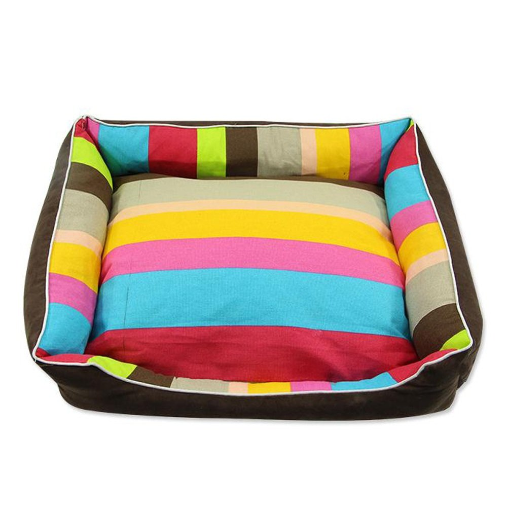 M Zhou Yunshan Four Seasons Rainbow Thick Stripes Pp Cotton Dog Nest With Zipper Removable Cat And Dog Pet Supplies. Safe (Size   M)
