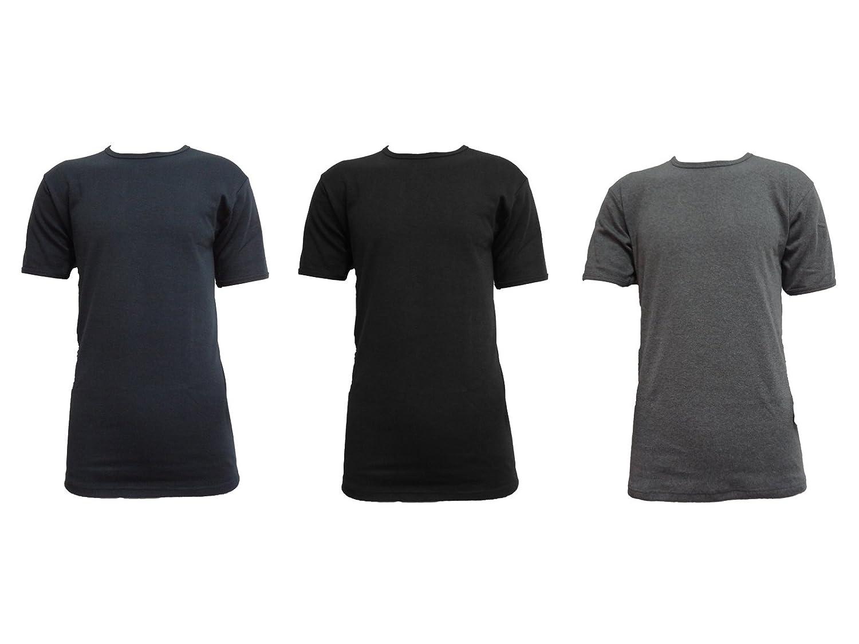 Pierre Cardin 3 t-shirt uomo mezza manica girocollo caldo cotone interlock art. londra (7/XXL, nero/grigio/blu)