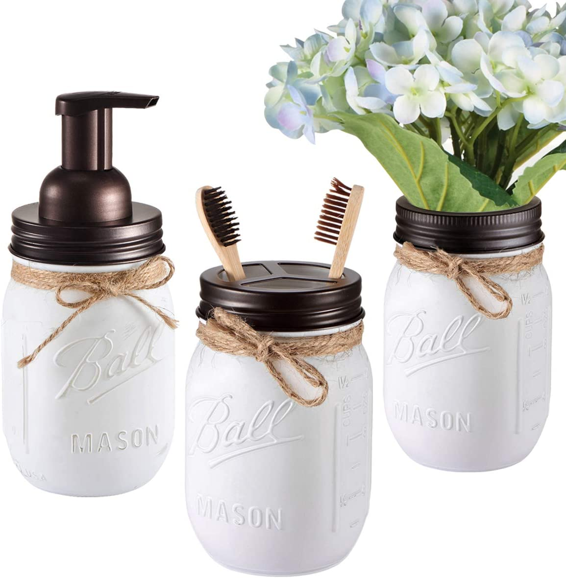 Mason Jar Bathroom Set(3 Piece)-Foaming Soap Dispenser, Toothbrush Holder,Flower Vase,for Wedding House Decor Countertop and Vanity Organizer Bathroom Kitchen Farmhouse Décor (Bronze)