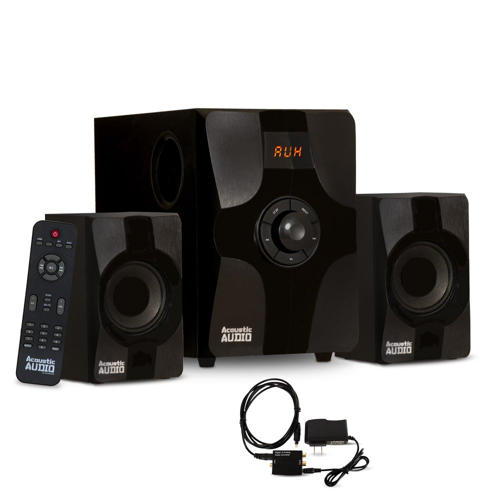 Acoustic Audio AA2131 Bluetooth Home 2.1 Speaker System for Multimedia with Digital Optical Input
