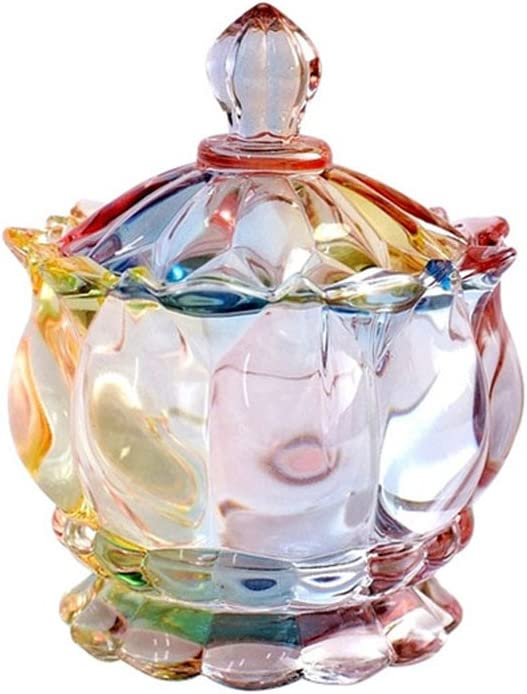 SOCOSY Royal Embossed Clear Glass Apothecary Jar With Lids, Candy Jar Containers Wedding Candy Buffet Jars Crystal Jewelry Box Food Jar 7oz (Flower)