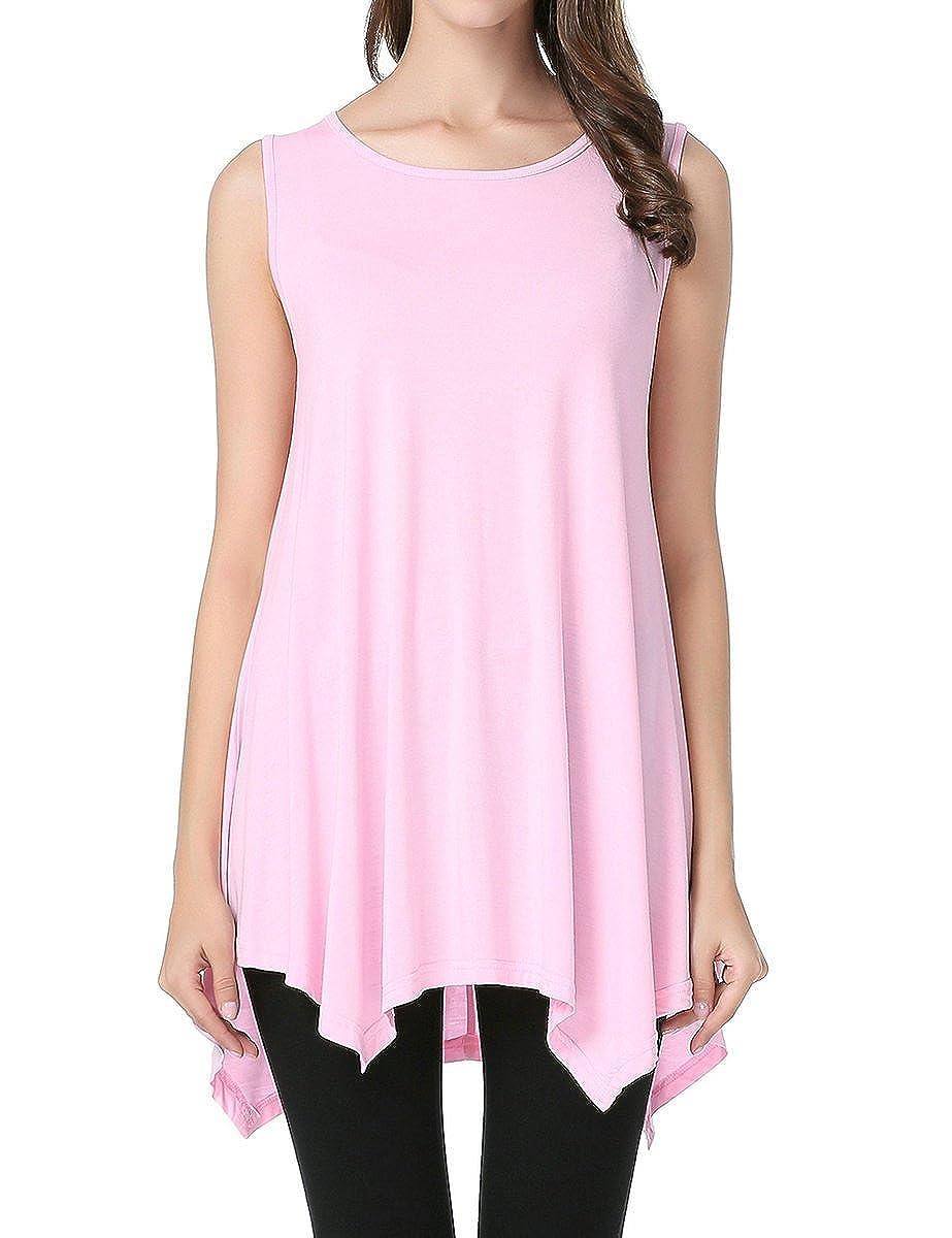 6b655670966e4 JollieLovin Womens Plus Size Loose-Fit Sleeveless T-Shirt Tank Tunic Top DP-