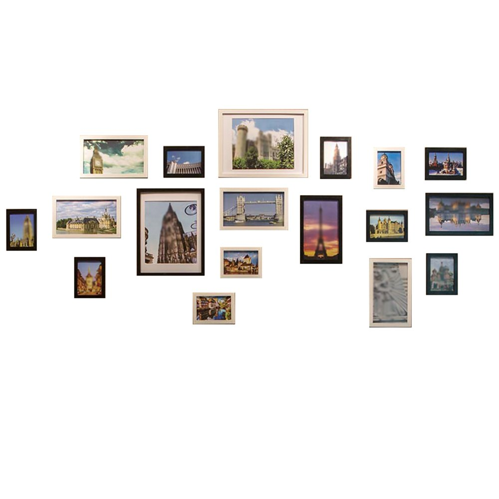 18 boxes of solid wood modern simple living room photo wall / photo frame wall / simple photo wall 240 108cm ( Color : Black and white )