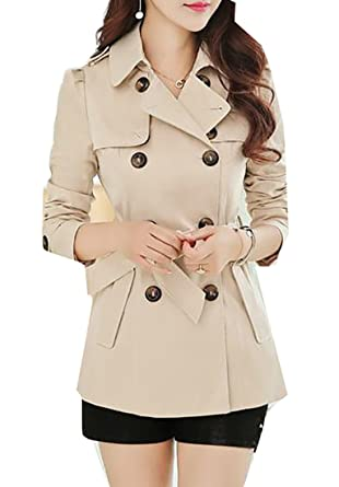 4ebd4042a5d Pandapang Women s Double-Breasted Elegant Slim Short Belt Trench Coats  Beige XS
