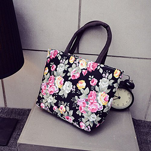 Rcool Canvas Fashion Handbag Black Women Girl Shoulder Shopper Shopping Bag Bag Printing Tote Leisure Purse ABrEBqwxX
