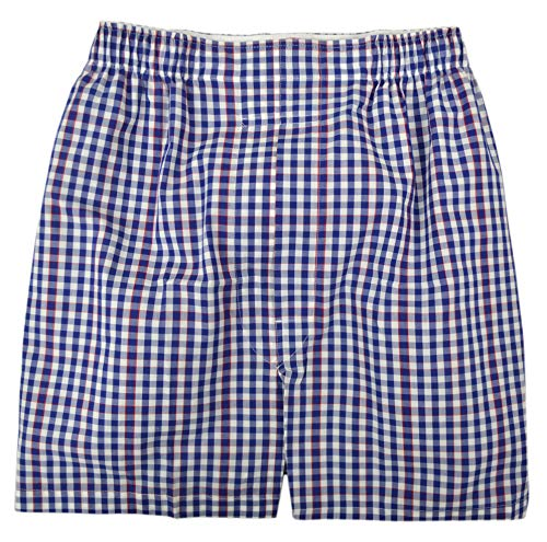 Brooks Brothers Men's Traditional Fit Gingham Plaid 100% Cotton Boxer Blue and White (X-Large)