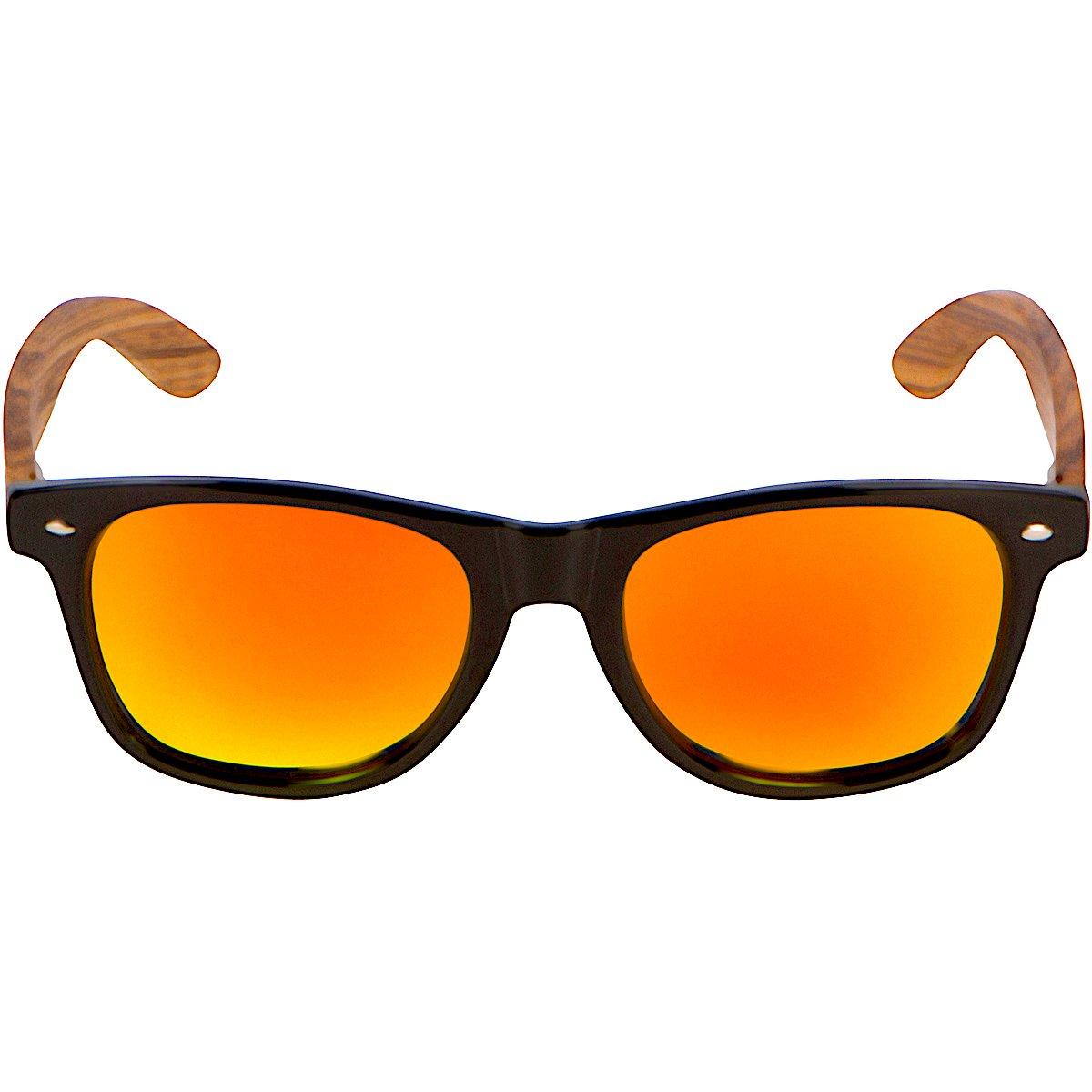 269d4bc35b Amazon.com  WOODIES Zebra Wood Sunglasses with Orange Mirror Polarized  Lens  Clothing