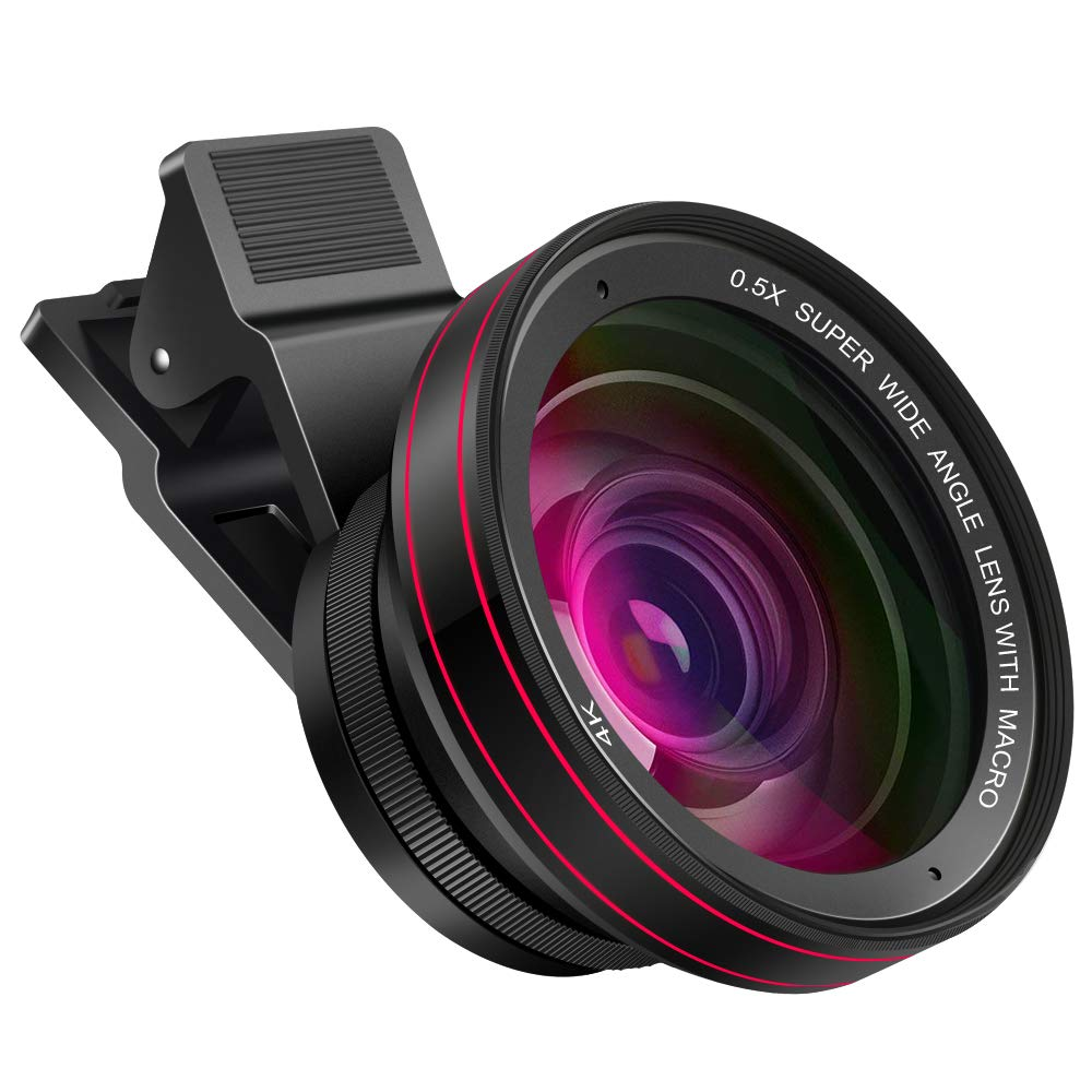 kit lentes para celular 58 mm 0.5X angular, 15X macro y luz