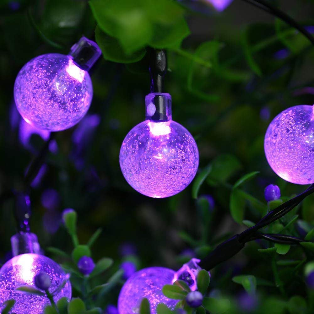 Icicle Solar String Lights, 20ft 30 LED Outdoor Globe Crystall Ball Lights DIY Lighting for Home, Patio, Lawn, Garden,Christmas Decorations (Purple)
