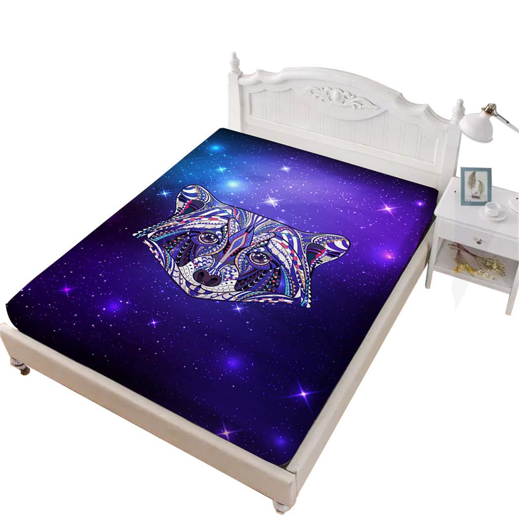 JessyHome Raccoon Fitted Sheet King,Cartoon 3D Bedding Sheet,Purple