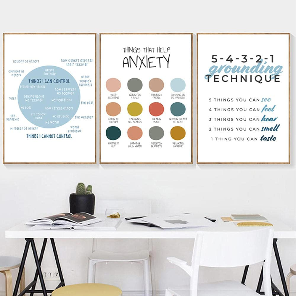 LTXMZ Anxiety Therapy Self-Care Poster Mental Health Art Print Psychologist Counselor Office Wall Pictures Home Decor Canvas Painting 40x50cmx3 No Frame