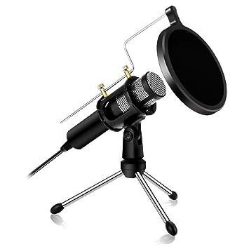 kczazy profesional micrófono de condensador - USB plug & play Home ...