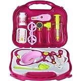 Maletín Médico Pretender Doctor Kit Enfermera Juego de Rol para Niños 3 4 5 6 Años (Rosa Oscuro)