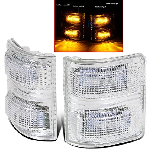 Restyling Factory 2008-2016 Ford Super Duty F250+F350/F450/F550/F660 Clear Lens Mirror Amber LED Light Kit Set 1 Pair Replacement for Factory OE Towing Mirror Turn Signal Light