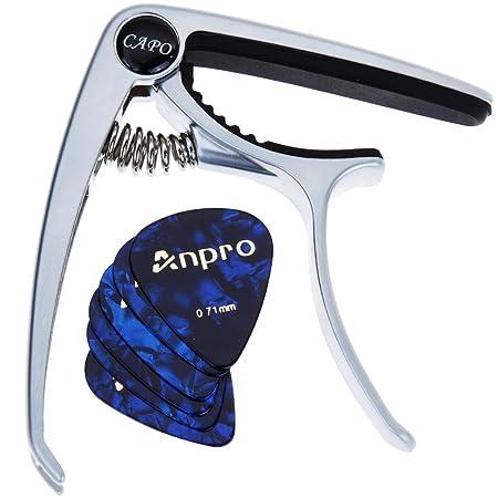 Anpro Capodastre de Guitare Electrique Acoustique Capo Pince En Alliage de Zinc Avec 6pcs Médiators Pour Ukulélé ,Guitare ,Banjo ,Guitares Folk