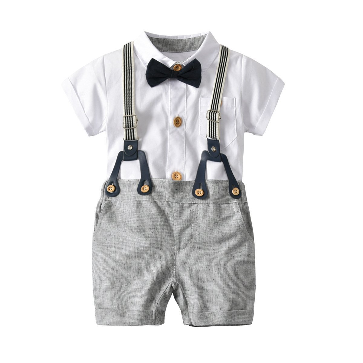 Infant Toddler Formal Suit 4 Pcs Set Bowie Suspender Romper Shorts Newborn Baby Boy Romper and Overall