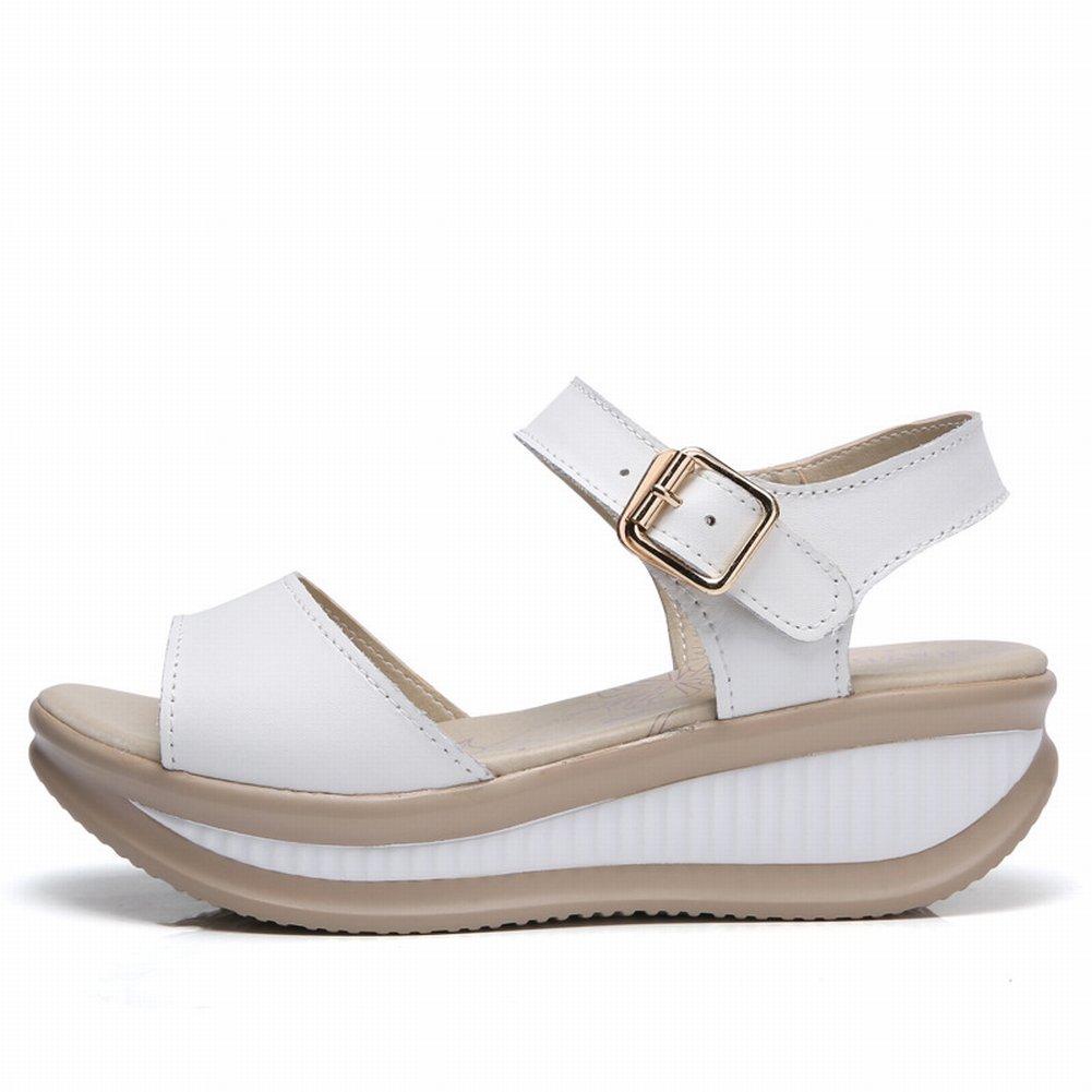 YTTY Sandalen Damen Sandalen Leder Damen Sandalen Sandalen mit Keilabsatz  38|Wei?