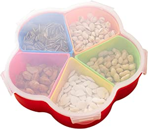 WINGOFFLY 5 Compartments Party Food Storage Snack Nuts Tray For Peanuts Fruits and Candy(Triangle Type)