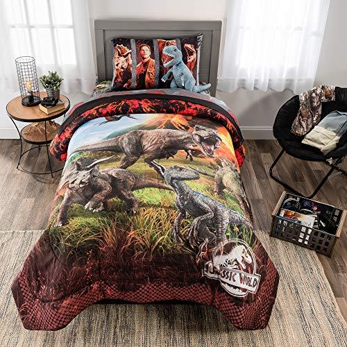 Universal Jurassic World Soft Microfiber Comforter, Sheets and Plush Cuddle Pillow Bedding Set,Twin Size 5 Piece Bundle Pack