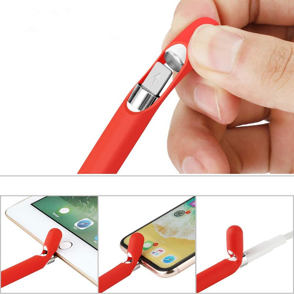 Apple Pencil Tether Cap Silicon Cover Protective Nib Cover FGRYB Apple Pencil Silicone Sleeve 1st Generation Apple Pencil Case Pouch Sleeve Charging Cap Holder 4 Pieces Bundle Red