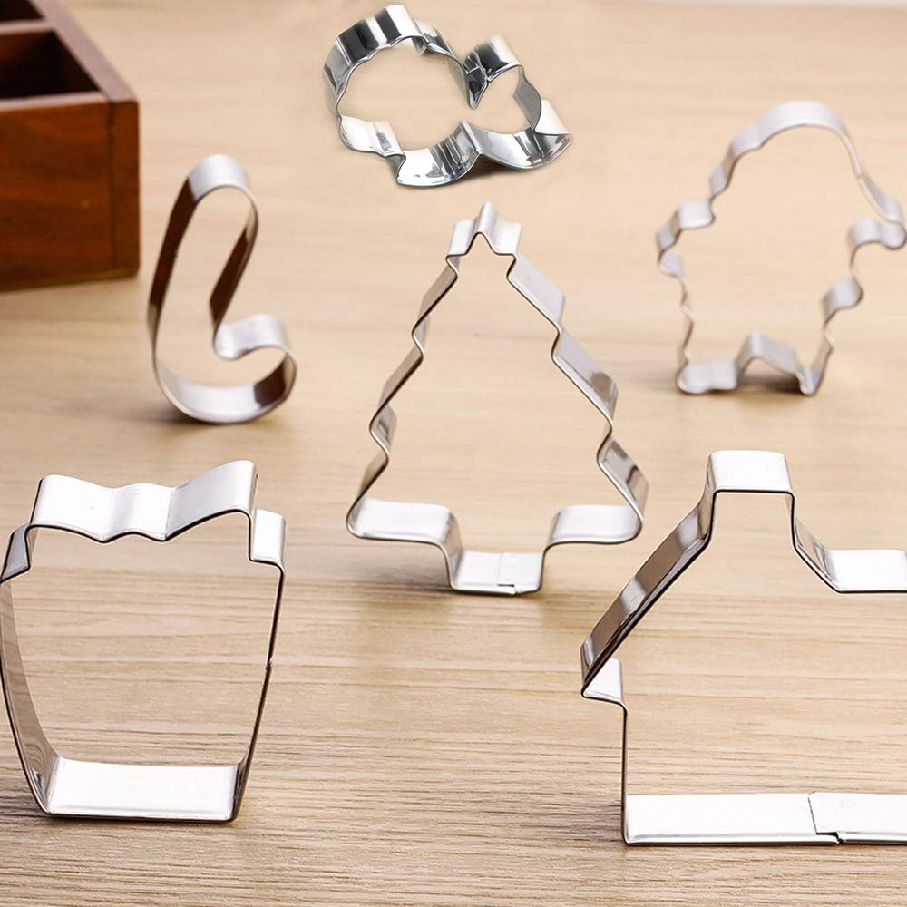 Christmas Cookie Cutters Set - 7 Piece Stainless Steel Cookies Molds for Making Muffins, Biscuits, Sandwiches, etc.