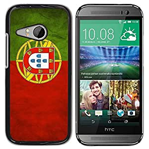 Slim Design Hard PC/Aluminum Shell Case Cover for HTC ONE MINI 2 / M8 MINI National Flag Nation Country Portugal / JUSTGO PHONE PROTECTOR