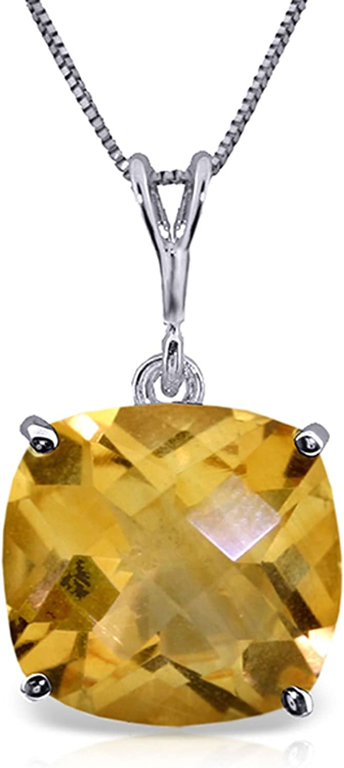 ALARRI 3.6 CTW 14K Solid White Gold Necklace Natural Checkerboard Cut Citrine with 20 Inch Chain Length