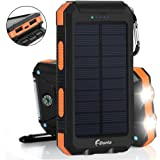 Solar Charger 20000mAh Power Bank, Portable Charger Solar Phone Charger with 2 USB Port 2 LED Light External Battery Pack for Emergency Travelling Camping, iPhone Android Cellphone Charging (Orange)