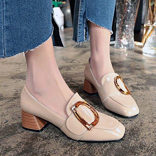 GAOLIM Zapatos De Mujer En La Primavera Wild Solo Zapatos Cabeza Del Partido Irregular Con Pequeños Zapatos Y Zapatillas. M blanco