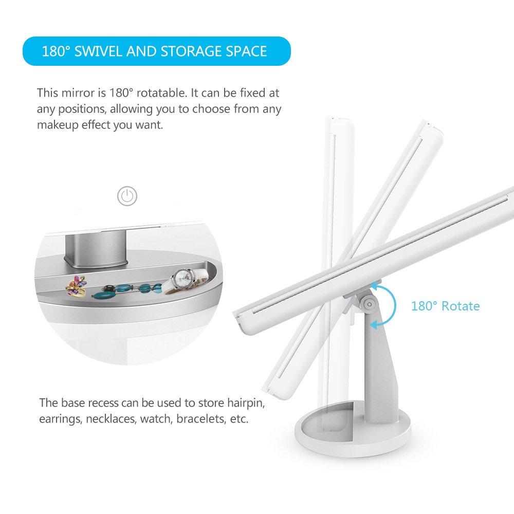 Wei/ß Beleuchteter Schminkspiegel 3 Seiten EASEHOLD Kosmetikspiegel mit dimmbaren LED Beleuchtung und Touchscreen 180/°Einstellbar Faltbarer Tischspiegel