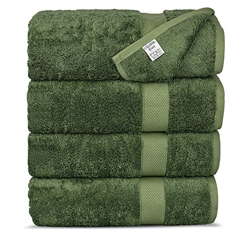 Chakir Turkish Linens Luxury Ultra Bamboo 4-Piece Bath Towel Set-Soft, Absorbent and Eco-Friendly, Moss