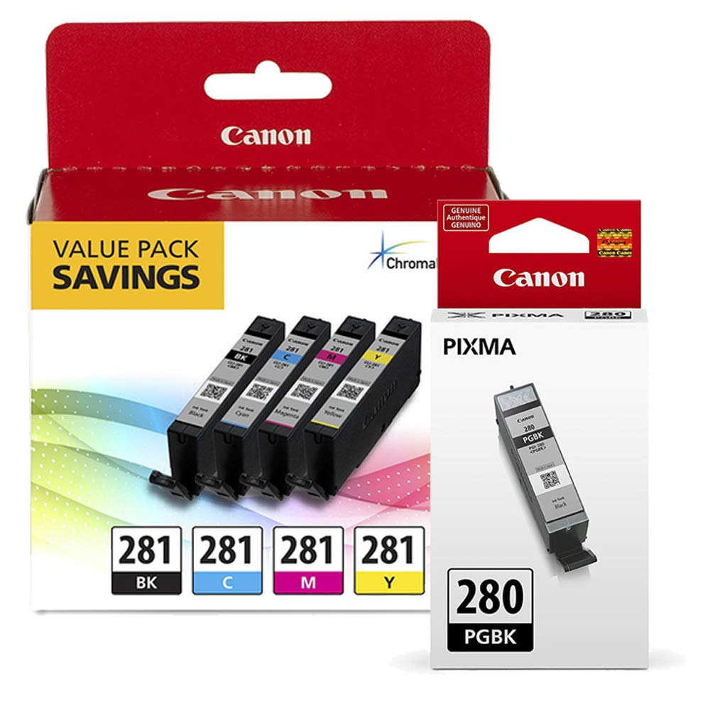 Canon CLI-281 BKCMY 4-Color Ink Tank Value Pack (2091C005) + Canon PGI-280 Pigment Black Ink Tank (2075C001)
