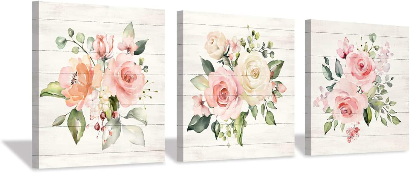 "Pink Floral Canvas Wall Art: Roses Flowers Bouquet Pictures Artwork for Kitchen Bathrooms (12""x12""x3pcs)"