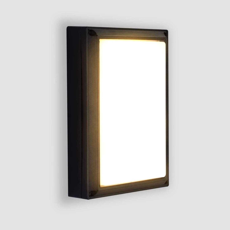 Lightess 18W Apliques de Pared Exterior LED Lámpara de Pared Moderna Impermeable IP65 Luz de Aluminio Iluminación para Patio, Terraza, Balcón, Negro (blanco cálido)