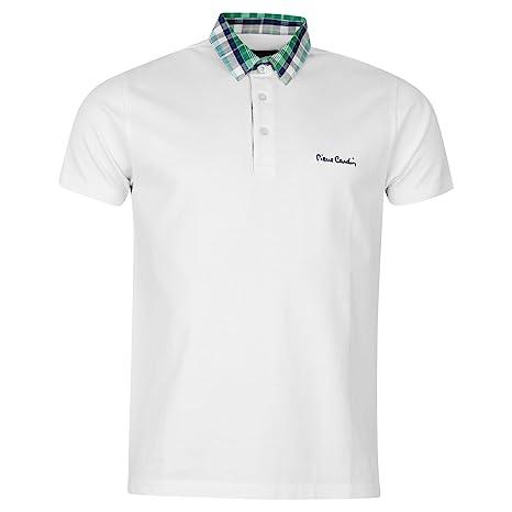 Pierre Cardin Check cuello Polo para hombre camiseta blanca Top ...