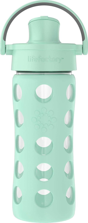 Lifefactory 16oz Active Flip Cap, Mint Glass Water Bottle