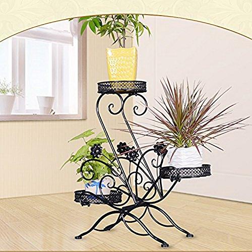 Metall Blumentreppe Blumen Regale Pflanzenständer 66cm mit 3 Körbe Hocker Blumenhocker Regal-Schwarz